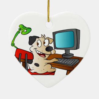 Dog Using a Computer Ceramic Heart Decoration