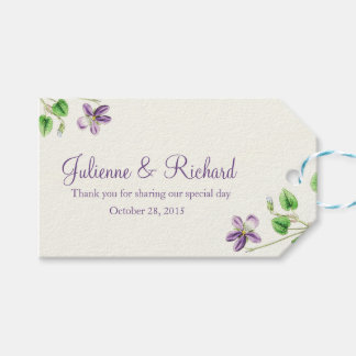 """Dog violet wedding """"Thank You"""" favour gift tag"""