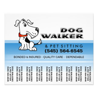 Dog Walker 5.6 x4.5 Tear Off Flyer Blue & White