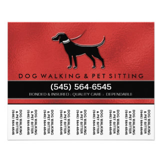 Dog Walker 5.6 x4.5 Tear Off Flyer Red & Black