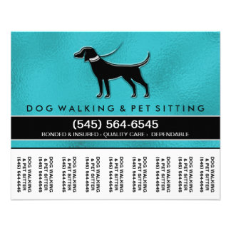 Dog Walker 5.6 x4.5 Tear Off Flyer Teal Blue Black