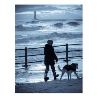 Dog Walker at Roker Postcard
