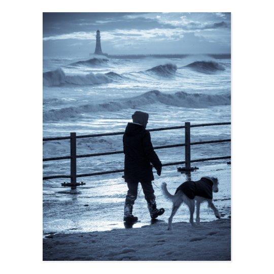 Dog Walker at Roker Postcard