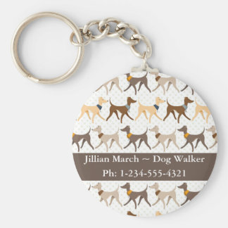 Dog Walker Basic Round Button Key Ring