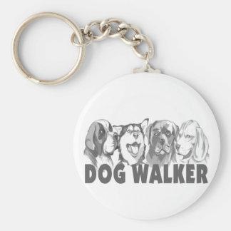 Dog Walker Basic Round Button Key Ring