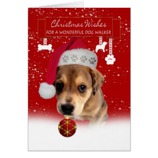 dog walker christmas wishes greeting card with cut