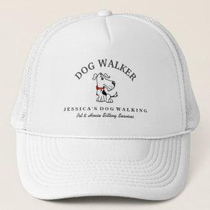 Dog Walker Custom Hat - Black White Dog Red Collar