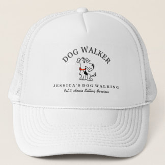 Dog Walker Custom Hat - Black White Dog Red Collar