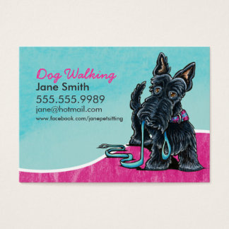 Dog Walker Cute Scottie Sky Blue Business Card