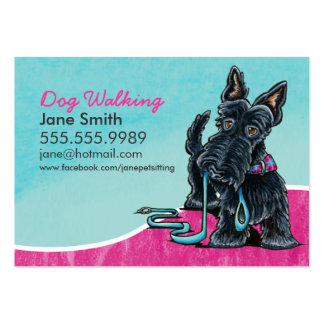 Dog Walker Cute Scottie Sky Blue Pack Of Chubby Business Cards