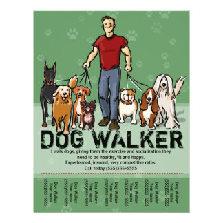 Dog Walker. Dog Walking. GUY. grn. PromoTemplate Flyer