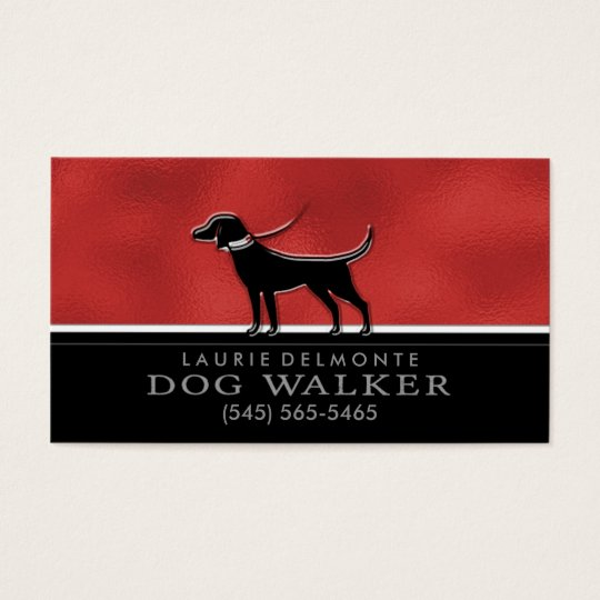 Dog Walker Faux Red & Black Custom Business