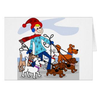 Dog walker greeting card