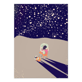 Dog Walker on the Moon Photo Art