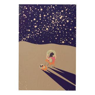 Dog Walker on the Moon Wood Prints