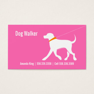 Dog Walker Pet Business Lab Modern Pink Business Card