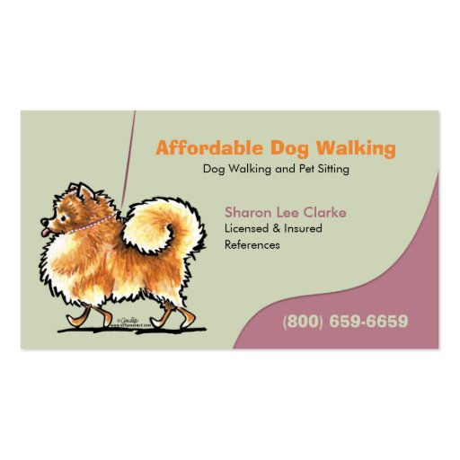 Dog Walker Pet Business Pomeranian Business Card Template