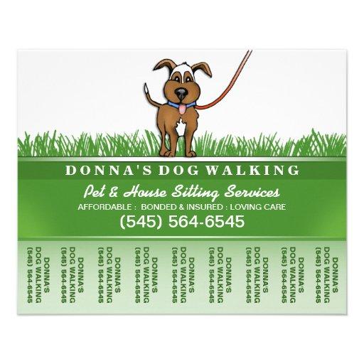 Dog Walker Amp Pet Sitting Tear Off Flyer 5 6 X 4 5 Zazzle