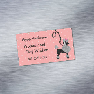 Dog Walker Poodle Retro Modern 50s Pet Walking Magnetic Business Card