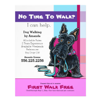 Dog Walker Scottie Plaid Discount Coupon Ad 21.5 Cm X 28 Cm Flyer