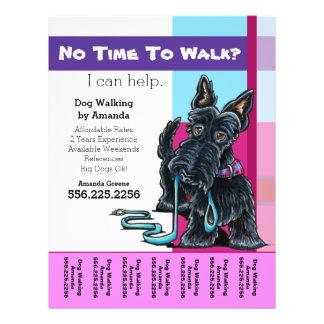 Dog Walker Scottie Plaid Personalized Tear Sheet Flyer