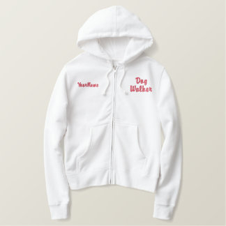 Dog Walker - Tired Dog is a Good Dog - Red Embroidered Hoodie