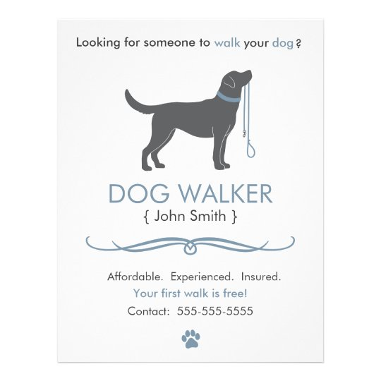 Dog walker walking business flyer template for Dog walking flyer template free