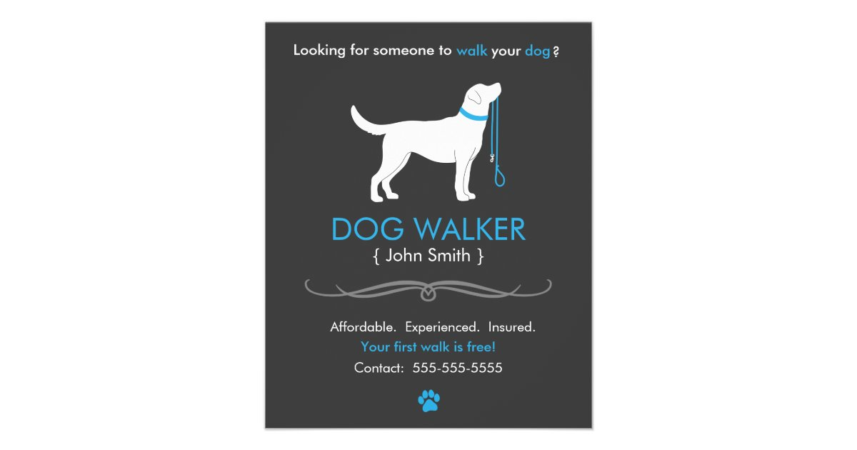 Dog Walker Walking Business Flyer Template Small Zazzle