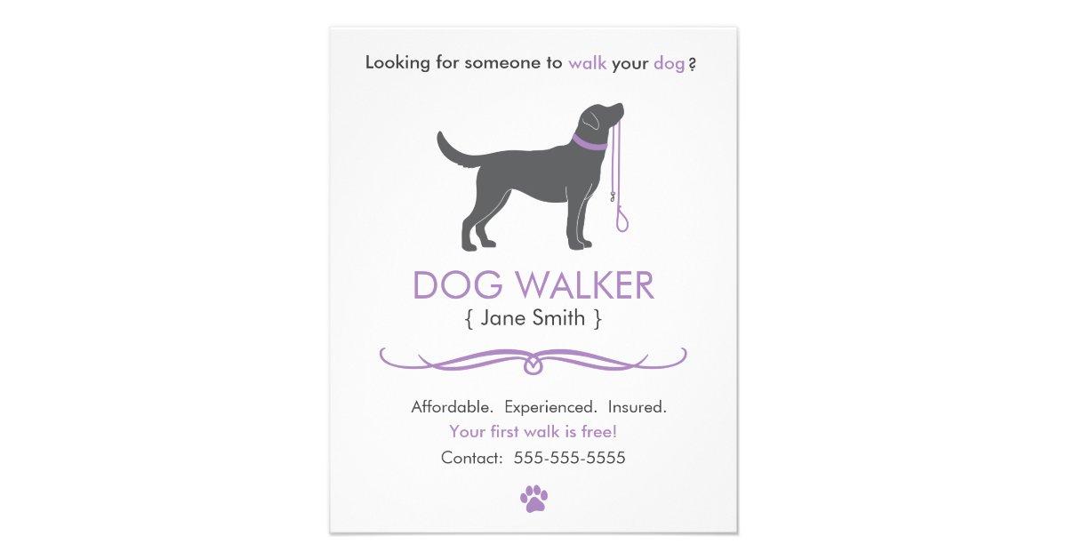 dog walker  walking business flyer template small