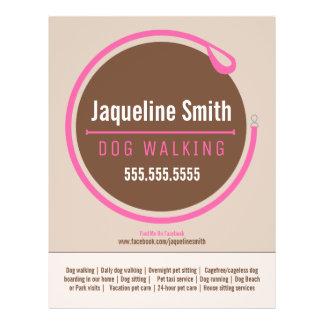 Dog Walker Walking Leash Loop Pink Promotional Full Color Flyer