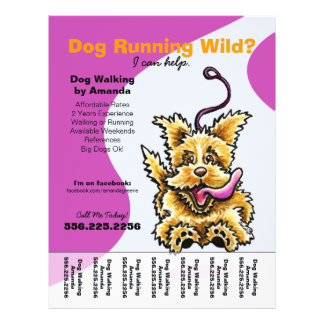 Dog Walker Walking Leashed Terrier Tear Sheet 21.5 Cm X 28 Cm Flyer