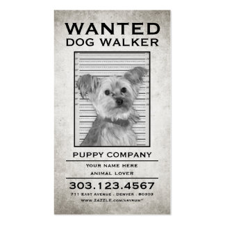 dog walker wanted poster Double-Sided standard business cards (Pack of 100)
