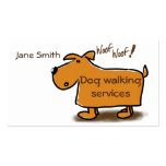 Dog walking business card cartoon dog