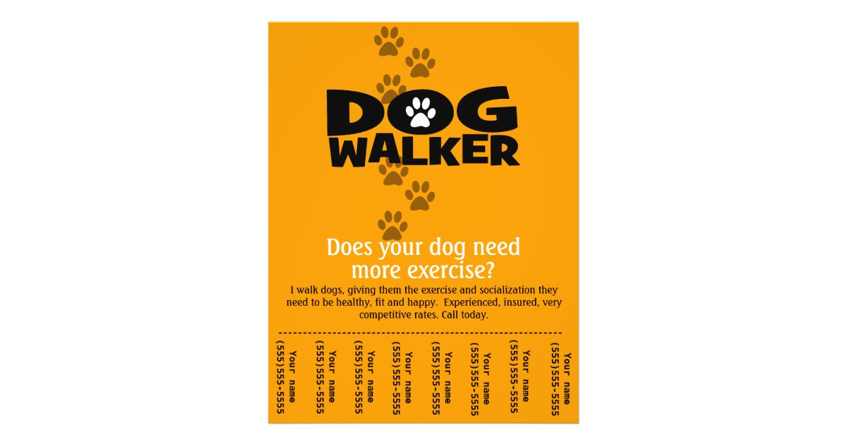 Dog walking business tear sheet flyer template for Dog walking flyer template free