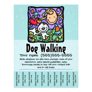 Dog Walking.Dog Training.Customizable Tearsheet 21.5 Cm X 28 Cm Flyer