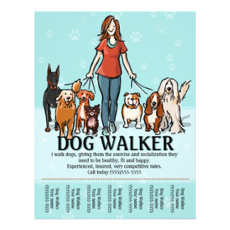 Dog Walking. Dog Walker. Tearsheet 21.5 Cm X 28 Cm Flyer