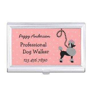 Dog Walking Modern 50s Retro Poodle Pet Walker Business Card Holder
