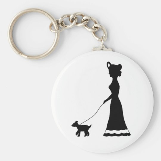Dog Walking silhouette keychain
