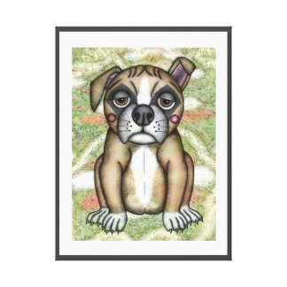 DOG WALL ART.  ALOOF DOG ILLUSTRATION, BORED DOG CANVAS PRINT