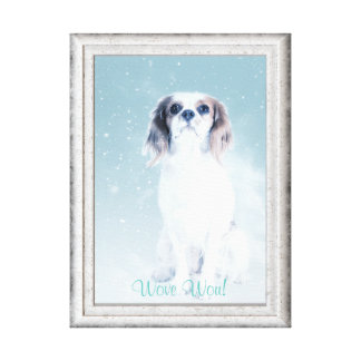 DOG WALL ART, CUTE  WHITE DOG, WITH FAUX FRAME CANVAS PRINT