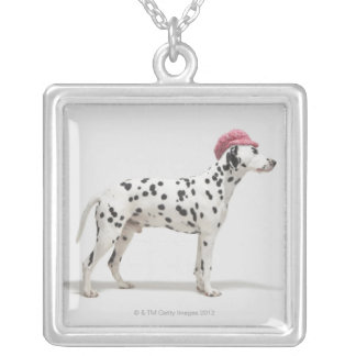 Dog wearing a hat silver plated necklace