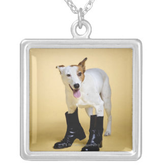 Dog wearing boots silver plated necklace