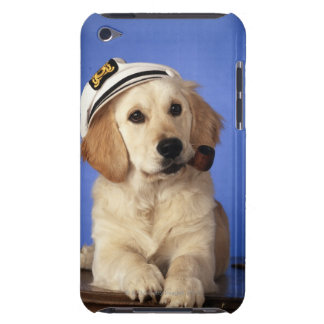 Dog wearing cap, holding smoke pipe barely there iPod covers