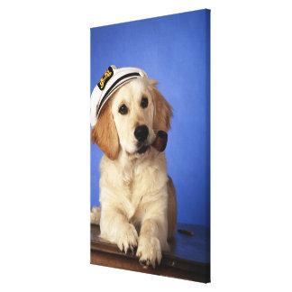 Dog wearing cap, holding smoke pipe canvas print