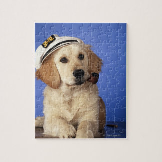 Dog wearing cap, holding smoke pipe puzzles