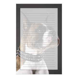 Dog wearing collar, looking away customised stationery