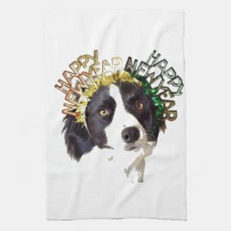 Dog Wearing Happy New Year Hats Kitchen Towel
