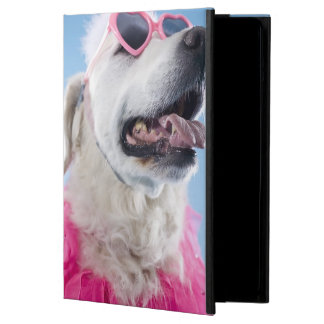 Dog wearing heart shaped classes and tu-tu cover for iPad air