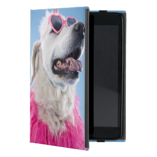 Dog wearing heart shaped classes and tu-tu iPad mini case