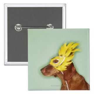 Dog wearing mask 15 cm square badge